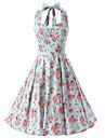 Damă Ieșire Vintage Swing Rochie-Floral Fără manșon Halter Lungime Genunchi Bumbac Toate Sezoanele Talie Medie Inelastic Mediu