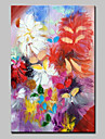 HANDMÅLAD Blommig/Botanisk Vertikal, Europeisk Stil Moderna Duk Hang målad oljemålning Hem-dekoration En panel