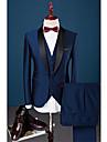 Albastru regal Solid Slim Fit Bumbac Poliester Spandex Costum - Șal  Guler Un singur rând, un nasture