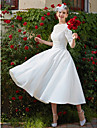 A-라인 스윗하트 종아리 길이 레이스 Made-To-Measure 웨딩 드레스 와 아플리케 / 드레이핑 으로 LAN TING BRIDE® / 두방법으로 착용가능 / 일루젼 / 네