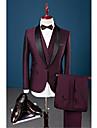 Burgunder Solid Slank Fasong Bomull Polyester Spandex Dress - Buet Enkelt Brystet Enn-knapp