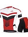 Nuckily Herr Kortärmad Cykeltröja med shorts - Röd Cykel Klädesset, Snabb tork, UV-Resistent, Andningsfunktion, Reflexremsa
