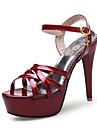 Pentru femei Pantofi Imitație de Piele Vară Pantofi Club Sandale Toc Stilat Vârf deschis Cataramă / Decupat Negru / Argintiu / Rosu / Nuntă / Party & Seară / Party & Seară