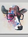Peint a la main Animaux Carre, Abstrait Moderne/Contemporain Toile Peinture a l\'huile Hang-peint Decoration d\'interieur Un Panneau