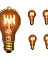 5pcs 40W E26 / E27 A60(A19) Alb Cald 2300k Retro Intensitate Luminoasă Reglabilă Decorativ Incandescent Vintage Edison bec 110-130V