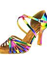 Pentru femei Pantofi Dans Latin Piele Sandale Cataramă / Cruce Toc Cubanez Personalizabili Pantofi de dans Curcubeu / Performanță
