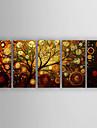 Pictat manual Abstract Orizontal,Modern/Contemporan O noua sosire Cinci Panouri Canava Hang-pictate pictură în ulei For Pagina de decorare