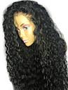 Dam Äkta peruker med hätta Brasilianskt Äkta hår 130% Densitet Med babyhår Lockigt Peruk Svart Kort Mellan Lång Naturlig hårlinje 100 %