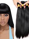 4 pakker Brasiliansk hår Lige 10A Jomfruhår Menneskehår, Bølget 8-28 inch Menneskehår Vævninger Silkeagtig Ekstention Naturlig Menneskehår Extensions / Ret