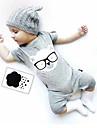 Bebelus Pentru copii O - piesă Culoare solidă Modă 100% Bumbac Vară Fără manșon Desen animat Negru Gri Galben