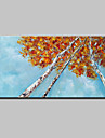 Hang-ζωγραφισμένα ελαιογραφία Ζωγραφισμένα στο χέρι - Άνθινο / Βοτανικό Αφηρημένο Μοντέρνα Χωρίς Εσωτερικό Πλαίσιο