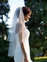 Voal de Nuntă Două Straturi Voaluri Lungi Până la Cot Margine Tăiată Șifon