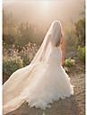 Un nivel Margine Tăiată Voal de Nuntă Voaluri tip Capelă cu Pieptene Floare Tulle / Tăietură Înger / Cascadă