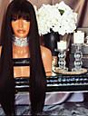 Remy kosa Perika s prednjom čipkom bez ljepila Lace Front Perika Sa šiškama stil Brazilska kosa Ravan kroj Perika 130% Gustoća kose s dječjom kosom Prirodna linija za kosu Afro-američka perika 100