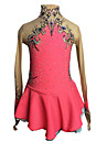Robe de Patinage Artistique Femme Fille Patinage Robes Rose + Rouge Mosaique Spandex Elasthanne Haute elasticite Competition Tenue de Patinage Fait a la main A Bijoux Strass Manches Longues Patinage