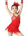 الرقص اللاتيني أزياء للمرأة أداء مطاط Elastane مترتر ليكرا شىء صغير براق شرابة بدون كم ارتفاع متوسط فستان سوار أغطية الرأس
