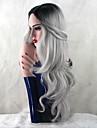 Synthetische Peruecken Grosse Wellen Grau Grau Synthetische Haare Damen Hitze Resistent / Dunkler Haaransatz / Natuerlicher Haaransatz Grau Peruecke Lang Kappenlos