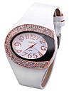 Femme Quartz Montre Bracelet Chinois Imitation de diamant Cuir Bande Etincelant Montre a diamant simule Montre creative unique Mode Blanc