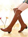 Femme Chaussures Polyurethane Automne Hiver Confort Bottes Gros Talon Bout rond Pour Decontracte Blanc Noir Marron