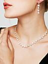 Pentru femei Cristal Set bijuterii - Diamante Artificiale Floare Modă, Elegant, de Mireasă Include Cercei Picătură / Colier / cercei Auriu / Argintiu / Alb / Alb Pentru Nuntă / Petrecere / Aniversare