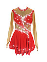 Figure Skating Dress Women\'s Girls\' Ice Skating Dress Red Spandex High Elasticity Competition Skating Wear Handmade Jeweled Rhinestone Long Sleeve Ice Skating Figure Skating