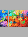 Pictat manual Floral/Botanic Vertical,Abstract Trei Panouri Canava Hang-pictate pictură în ulei For Pagina de decorare