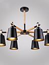 6 huvuden vintage trä art deco metall ljuskronor kreativa vardagsrum matsal studie rum / kontor