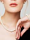 Pentru femei Perle Seturi de bijuterii / Brățări cu Lanț & Legături / Coliere Colier - Perle, Diamante Artificiale Modă, Elegant, de Mireasă Alb Coliere Pentru Nuntă, Petrecere, Zilnic / Σκουλαρίκια
