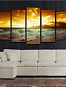 Valsade kanfastryck Landskap Moderna, Fem paneler Duk Horisontell Tryck väggdekor Hem-dekoration