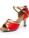Pentru femei Pantofi Dans Latin Mătase Sandale Cataramă Toc Personalizat Personalizabili Pantofi de dans Maro / Rosu / Albastru / Interior / Piele