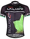 ILPALADINO Homme Manches Courtes Maillot de Cyclisme - noir / vert Velo Maillot, Sechage rapide Polyester, Coolmax®
