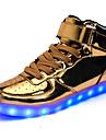 Herr Skor Konstläder Vinter Höst Lysande skor Komfort Sneakers Promenad LED Krok och ögla för Sport Casual Utomhus Guld Vit Svart Silver