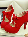 Pentru femei Pantofi PU Vară Confortabili Tocuri Negru / Bej / Rosu