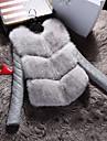 Damă Rotund Palton Piele Ieșire Casul/Zilnic Simplu,Mată Cranii Cool Mânecă Lungă Iarnă-Regular Γούνινος Γιακάς Blană Artificială