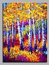 Peint a la main Paysage Format Vertical,Artistique Inspire de la nature Rustique Moderne/Contemporain Bureau / Affaires Noel Nouvel An Un