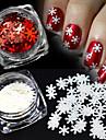 2 färger / set 1g / flaska xmas vit&röd nail art lysande 3d snöflingor pajamas diy manikyr dekoration