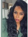 Äkta hår Spetsfront Peruk Brasilianskt hår Kroppsvågor Med babyhår 130% Densitet 100 % handbundet Naturlig hårlinje Korta Mellan Lång Dam