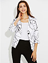 Women\'s Casual/Daily Holiday Street chic Sophisticated Spring Fall Blazer,Striped Shirt Collar Long Sleeve Regular Cotton