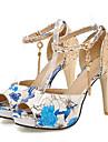 Pentru femei Pantofi Microfibră PU sintetică Vară / Toamnă Confortabili / Noutăți Sandale Toc Stilat Pantofi vârf deschis Cataramă Rosu /