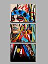 HANDMÅLAD Människor Vertikal, Etniska och Interracial Duk Hang målad oljemålning Hem-dekoration Tre paneler