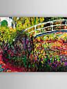 Hang-ζωγραφισμένα ελαιογραφία Ζωγραφισμένα στο χέρι - Τοπίο Μοντέρνο / Σύγχρονο Καμβάς / Επενδυμένο καμβά