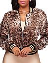 Damă În V Jachetă Ieșire Club Vintage Șic Stradă,Imprimeu Leopard Primăvară Toamnă-Scurt Poliester