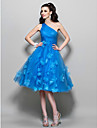 A-Line One Shoulder Knee Length Tulle Cocktail Party / Prom Dress with Beading / Flower by TS Couture®