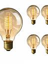 5pcs 40 W E26 / E27 G80 Alb Cald 2200-2700 k Retro / Intensitate Luminoasă Reglabilă / Decorativ Incandescent Vintage Edison bec 220-240 V