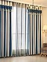 Stångficka Hyls-topp Hällor topp Dubbel veckad Penn veck Fönster Behandling Europeisk , Färgat garn Rand Sovrum Material gardiner