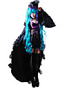 Inspired by Vocaloid Hatsune Miku Video Game Cosplay Costumes Dresses / Hat / Cap Solid Colored Long Sleeve Dress / Hat Halloween Costumes / Satin