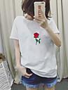 Pentru femei Tricou Vintage - Mată Broderie Bumbac