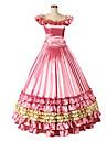 Une Piece/Robes Gothique Lolita Cosplay Vetrements Lolita Fuschia Retro Mancheron Sans Manches Court / Mini Robe Pour Autre
