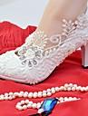 Damă Pantofi Dantelă Imitație de Piele Primăvară Toamnă Confortabili pantofi de nunta Vârf rotund Piatră Semiprețioasă Aplicații Imitație
