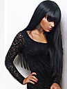 人工毛ウィッグ ストレート Kardashian スタイル バング付き キャップレス かつら ブラック ブラック 合成 24 インチ 女性用 Bangsと ブラック かつら ロング